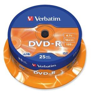 Verbatim DVD-R 4.7GB 16x spindle, 1kpl=25 levyä