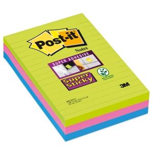 Post-it Super Sticky viestilaput 101 x 152, värilajitelma, 1 kpl = 3 nidettä