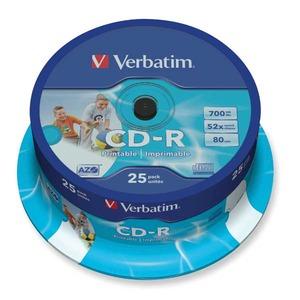 Verbatim CD-R 80min 700MB 52x printattava spindle, 1kpl=25 levyä