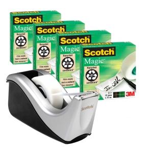 Scotch 810 Magic teippi 4 rullaa ja C60 teippiteline, hopea