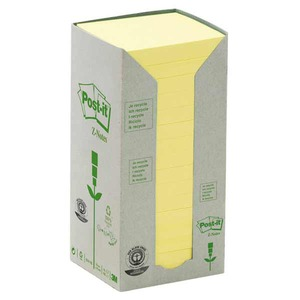 Post-it Z-Notes viestilapputorni eko 76 x 76mm, keltainen, 1 kpl = 16 nidettä