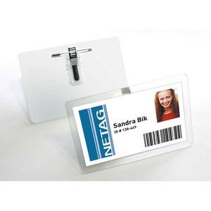 Durable itselaminoituva nimikortti 54x90mm hakaneula/klipsi, 1kpl=25 nimikorttia