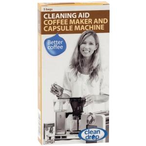 Clean Drop puhdistusaine kahvinkeittimille, myyntierä 1 kpl = 5 pussia