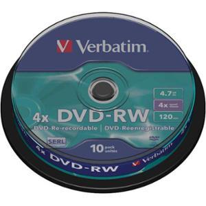 Verbatim DVD-RW 4.7GB 1-4X spindle, 1kpl=10 levyä