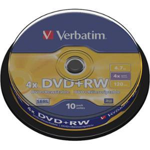 Verbatim DVD+RW 1-4X 4.7GB spindle, 1kpl=10 levyä