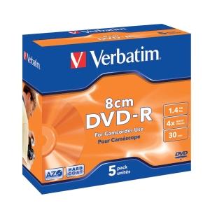 Verbatim DVD-R 1.46GB 4X videokameralle 80mm jewel case, 1kpl=5 levyä