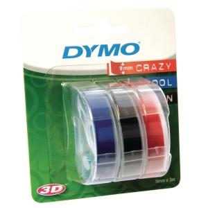 Dymo kohokirjoitinteippi lajitelma 9 mm, sininen/punainen/musta