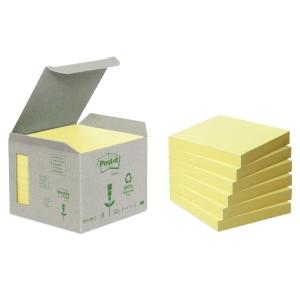 Post-it viestilaput eko 76 x 76mm, keltainen, myyntierä 1 kpl = 6 nidettä
