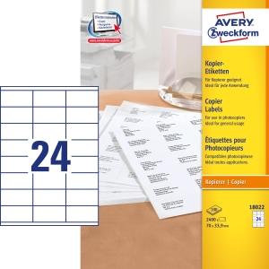 Avery 18022 Kopiotarra 70x33.9mm 24-osainen, 1kpl=2400 tarraa (100 arkkia)