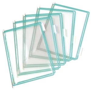 Tarifold lisätasku, avoin yläreuna, läpinäkyvä, vihreä kehys, 1 kpl = 10 taskua