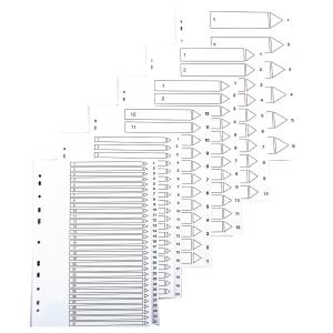 Lyreco hakemisto 12-1 A4 kartonki, valkoinen