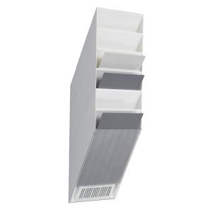 Seinäteline A4 pysty, 6 osaa, mitat: 690 x 135 x 240 mm, valkoinen