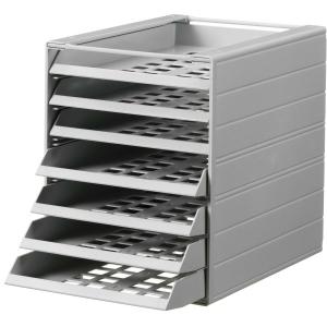 Durable vetolaatikosto A4, 7-lokeroa, mappihyllyyn, harmaa