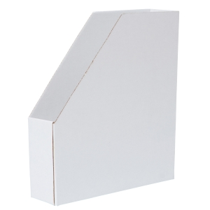 Lehtikotelo A4 kartonkia, koottava, mitat: 256 x 70 x 298 mm, valkoinen