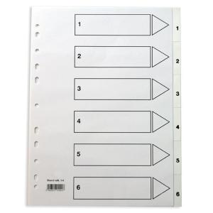 Lyreco hakemisto 1-6 A4 PP valkoinen