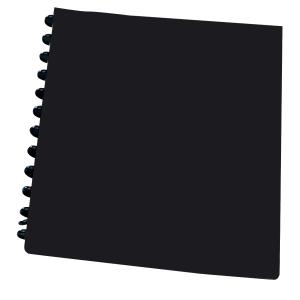 Repäisytaskukansio etutaskulla A4, PP, 20 taskua, musta