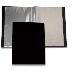 Esittelykansio A4 etutaskulla, 20 taskua, PP, musta