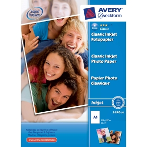 Avery inkjet valokuvapaperi A4 180g glossy, 1 kpl = 50 arkkia