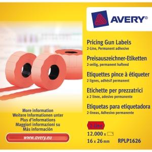 Avery hintaetikettirulla 26x16 2-rivinen, punainen