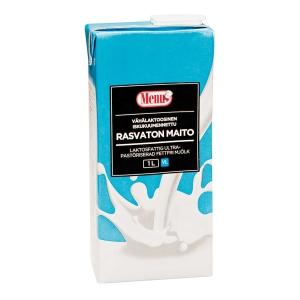 Menu rasvaton maito vähälaktoosinen UHT 1 L, myyntierä 1 pakkaus = 12 tölkkiä
