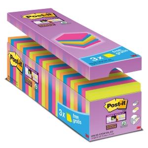 Post-it Super Sticky viestilappu 76 x 76mm värilajitelma, 1 kpl=24 nidettä
