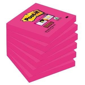Post-It Super Sticky viestilappu 76 x 76mm fuksia, myyntierä 1 kpl = 6 nidettä