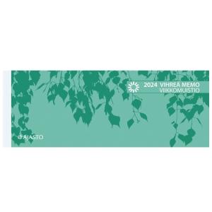 Ajasto Vihreä Memo viikkomuistio pöytäkalenteri 255 x 95 mm