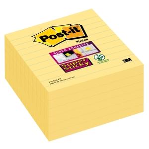Post-It Super Sticky viestilappu 101x101mm viivoitettu, kelt, 1 kpl = 6 nidettä