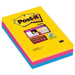 Post-It Super Sticky viestilappu 101 x 152mm viivoitettu, Rio, 1 kpl = 3 nidettä