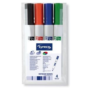 Lyreco valkotaulukynä viisto 1,9-4,6 mm, värilajitelma, myyntierä 1 kpl = 4kynää