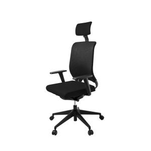 Cadeira de mecanismo sincronizado LYRECO RS 15C com encosto de cabeça cor preto