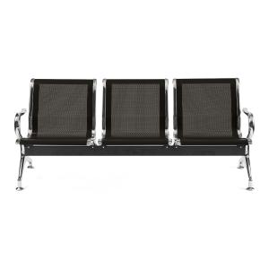 Bancada metálica braços LYRECO 3 assentos cor preto Dim: 1800x800x750 mm