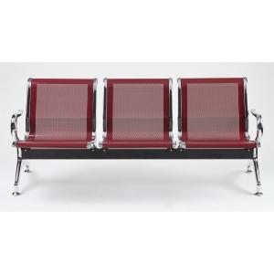 Bancada metálica braços LYRECO 3 assentos cor vermelho Dim: 1800x800x750 mm