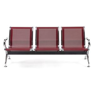 Bancada metálica braços LYRECO 3 assentos cor borgonha Dim: 1800x800x750 mm