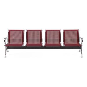 Bancada metálica braços LYRECO 4 assentos cor vermelho Dim: 2400x800x750 mm