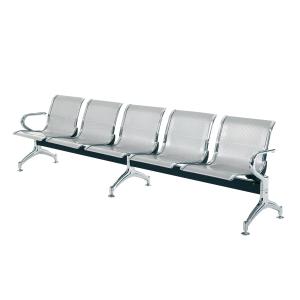 Bancada metálica braços LYRECO 5 assentos cor cinza Dim: 2960x800x750 mm