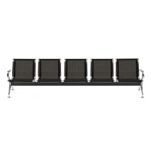 Bancada metálica braços LYRECO 5 assentos cor preto Dim: 2960x800x750 mm
