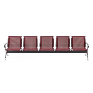 Bancada metálica braços LYRECO 5 assentos cor vermelho Dim: 2960x800x750 mm