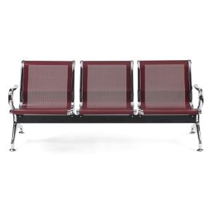 Bancada metálica braços LYRECO 5 assentos cor borgonha Dim: 2960x800x750 mm