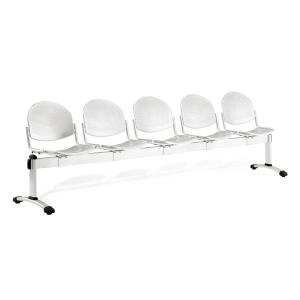 Bancada metálica sem braços LYRECO 5 assentos cor cinza Dim: 2950x820x600 mm