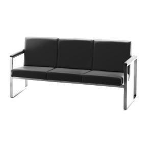 Cadeira sala de espera LYRECO Serie 7000 3 assentos preto Dim: 1700x810x670 mm