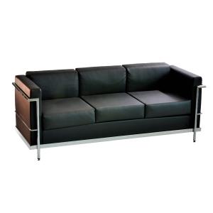 Cadeira sala de espera LYRECO Serie 5000 3 assentos preto Dim: 1750x750x700 mm