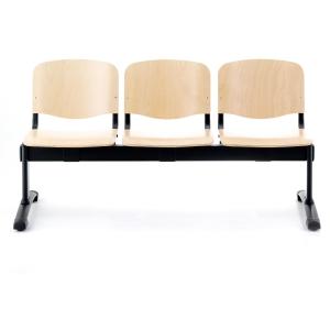 Bancada de 3 assentos LYRECO de madeira estrutura de metal Dim: 1500x780x430 mm