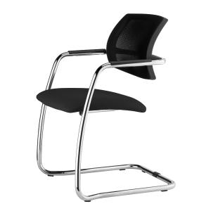 Cadeira de recpçaõ LYRECO EV Mesh com pé saliente cor preto