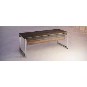 Mesa Atlantic Luxe estrutura e pés metálicos 200x90x74 mm nogueira/cromado