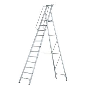 Escada profissional ZARGES com plataforma e 12 degraus antiderrapantes