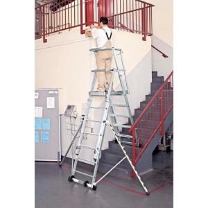 Escada profissional ZARGES com plataforma extragrande telescópica 9 degraus