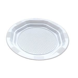 Pacote de 25 placas redondas brancas e planas de 22cm
