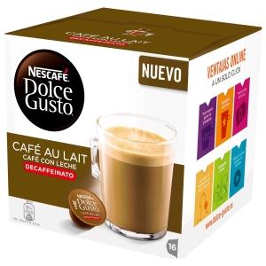 Pacote de 16 cápsulas DOLCEGUSTO CAFÉ COM LEITE DECAFEINAD