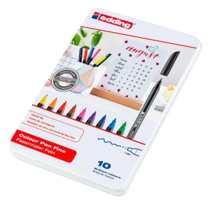 Pack 10 marcadores EDDING 1200 ponta de fibra cores sortidas